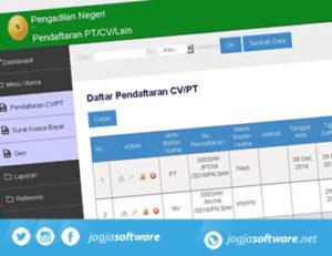 Sistem Informasi Data Pendaftaran PT, CV, SK