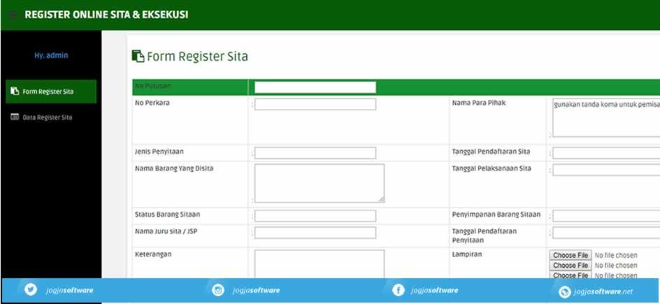 Input Sistem Informasi Register Sita & Eksekusi Pengadilan